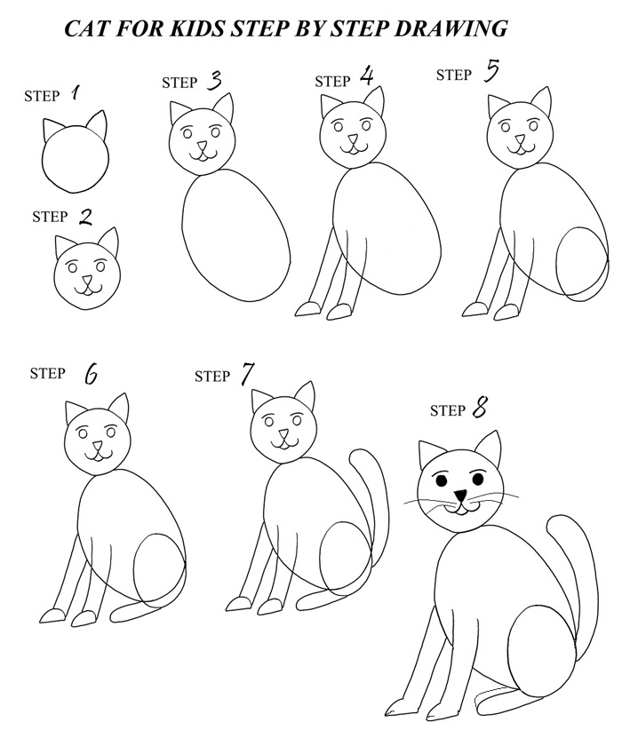 How To Draw A Cat Step By Step With Pictures Cool2bkids