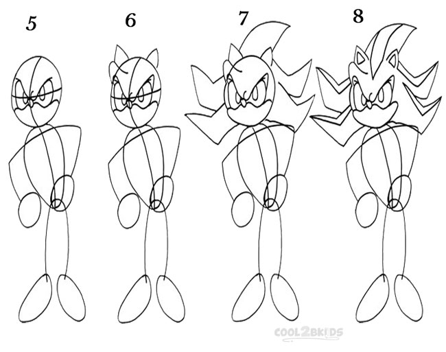 How To Draw Sonic The Hedgehog Step By Step Pictures