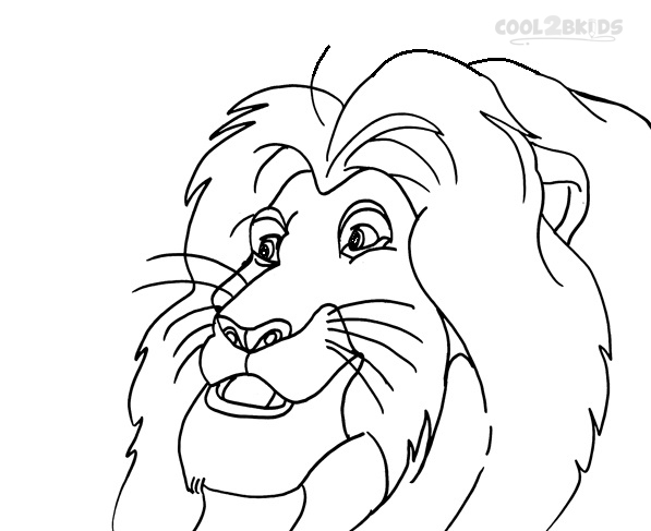 Simba Face Coloring Pages