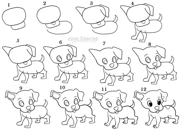 How To Draw a Puppy (Step by Step Pictures) | Cool2bKids How To Draw A Puppy