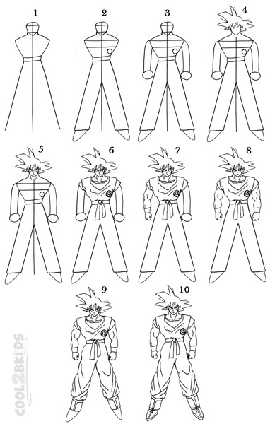 How to Draw Goku (Step by Step Pictures) | Cool2bKids
