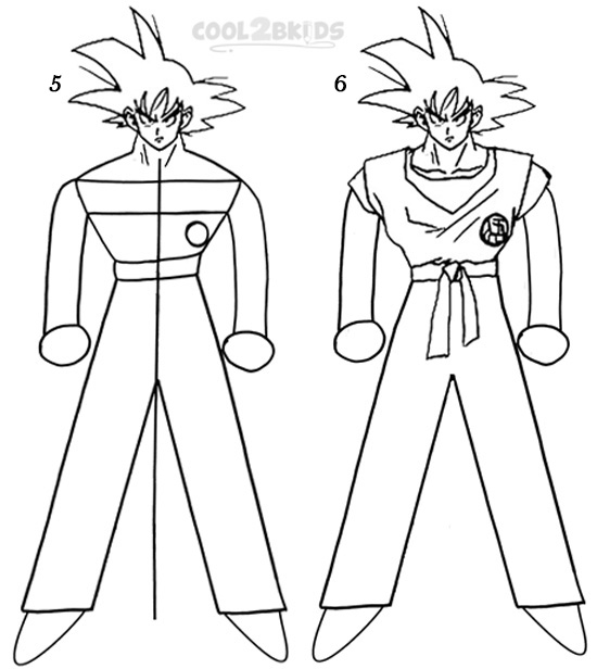 How to draw goku step 3