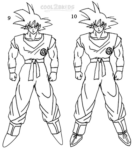 How To Draw Goku Step By Step Pictures Cool2bkids
