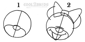 How To Draw Minnie Mouse Step 1
