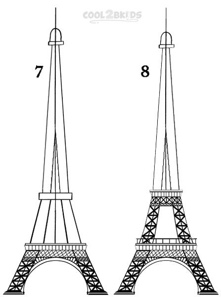 Line Drawing Eiffel Tower : How to draw the eiffel tower step by pictures