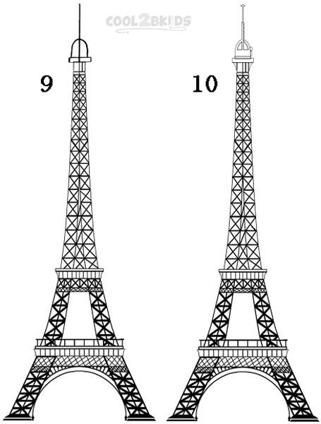 how to draw the eiffel tower step 5