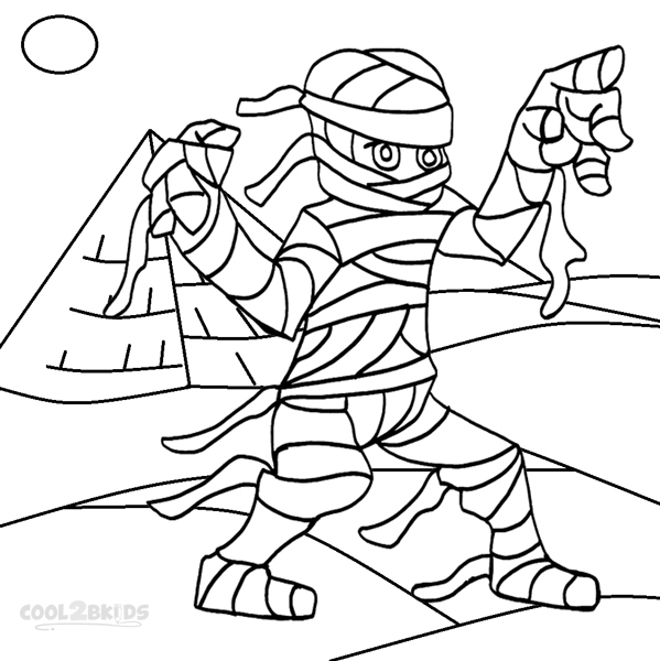 Printable Halloween Coloring Pages A Mummy In Coffin ...