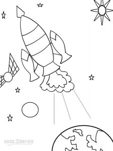 Spaceship Coloring Page For Kids Photos