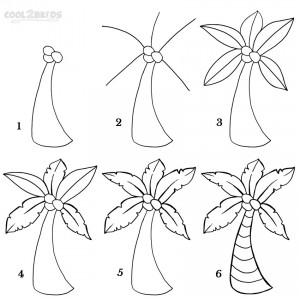 Draw a Palm Tree Step by Step