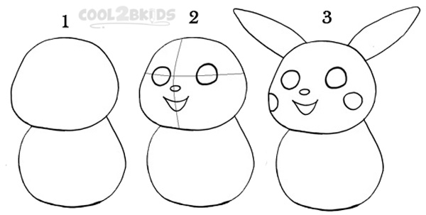 How to draw pikachu step 1