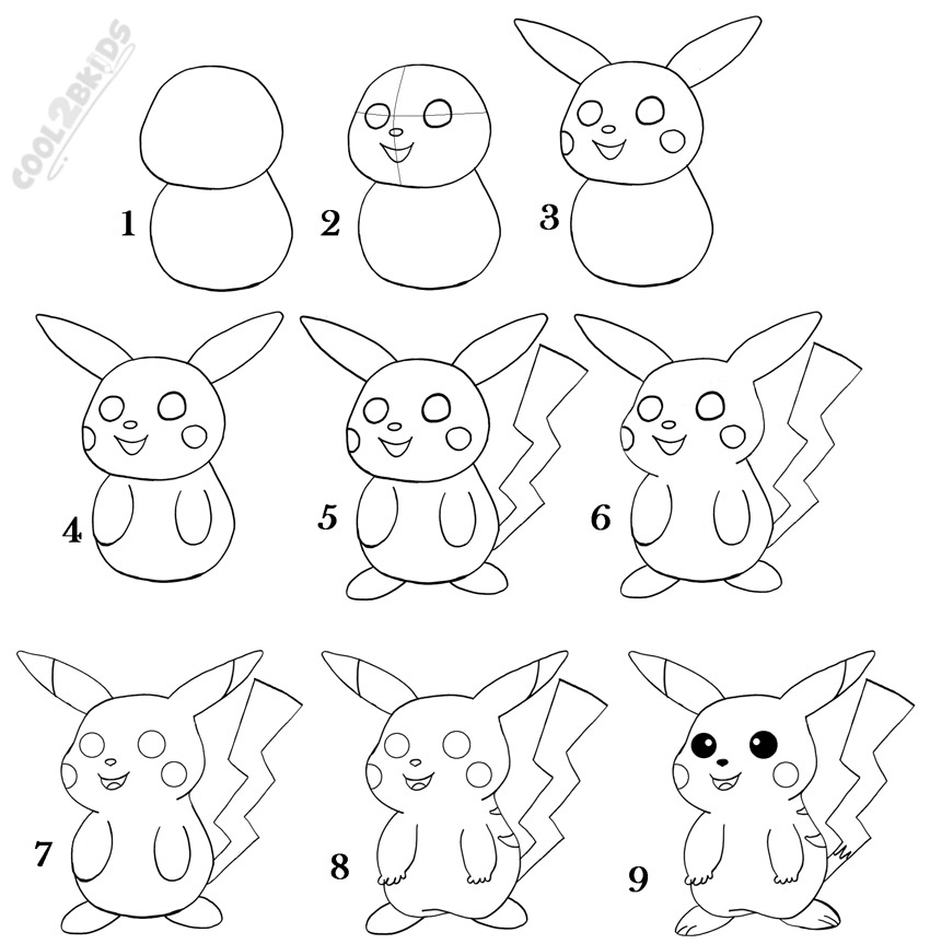 How To Draw Pikachu Step By Step Pictures Cool2bkids