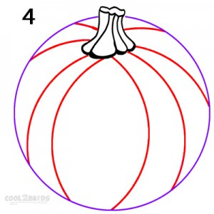 How To Draw a Pumpkin Step 4