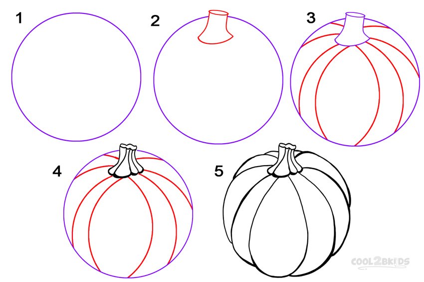 How to draw a pumpkin step by step pictures cool2bkids for Awesome pumpkin drawings