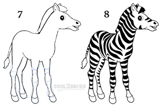 How To Draw a Zebra (Step by Step Pictures) | Cool2bKids