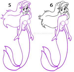 how to draw a mermaid tail step by step