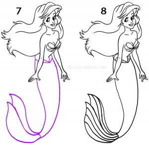 How To Draw a Mermaid Step 4