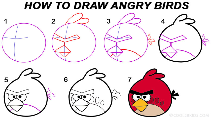 How To Draw Angry Birds (Step By Step Pictures)