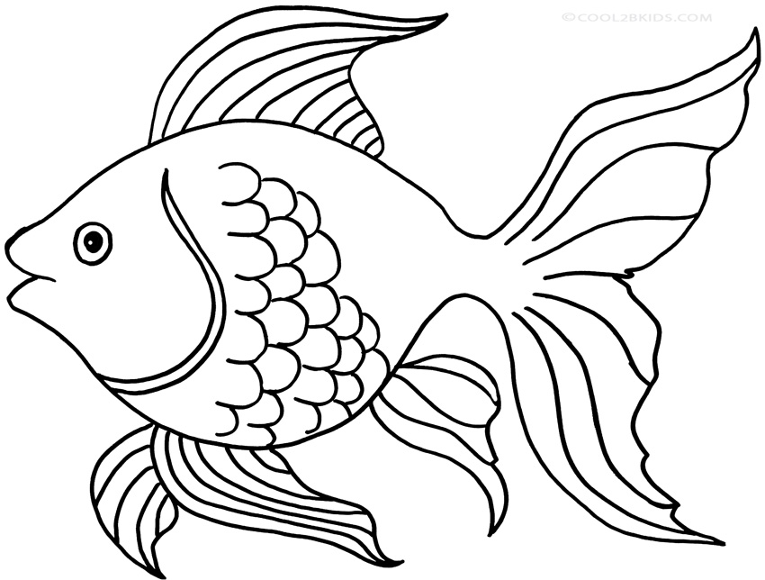 Printable goldfish coloring pages for kids cool2bkids for Free coloring fish pages