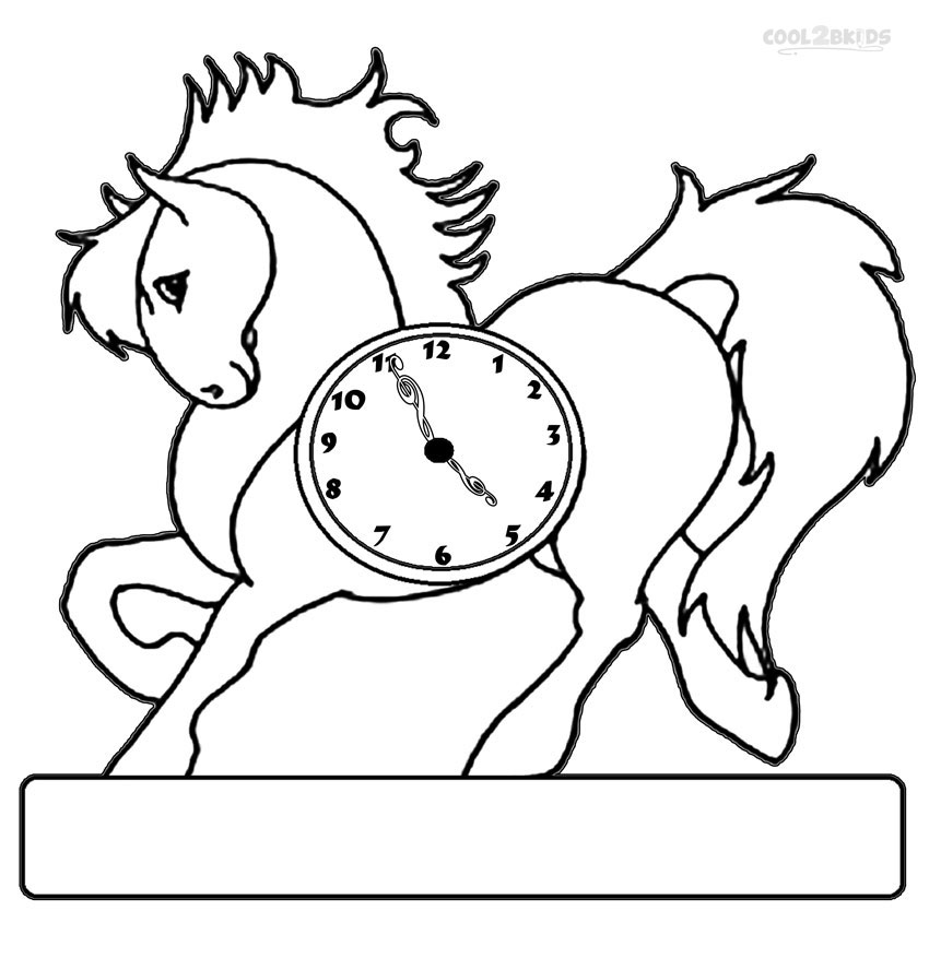 Clock coloring pages print