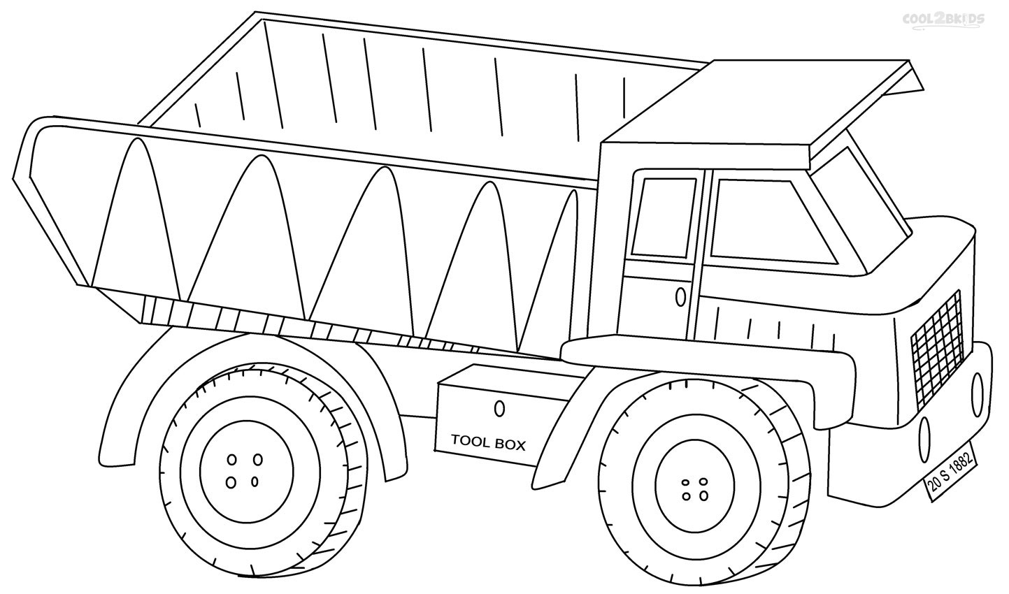 Playful image regarding printable truck coloring page