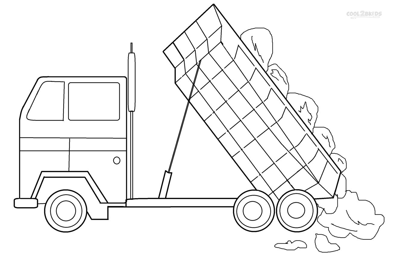 Garbage truck coloring book pages - Printable Dump Truck Coloring Pages For Kids Cool2bkids Dump