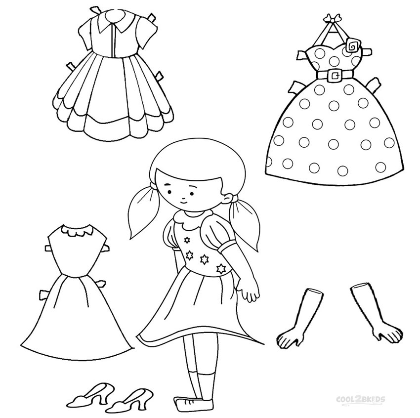 free paper doll clothes coloring pages
