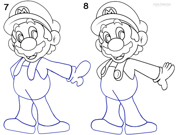How To Draw Mario (Step by Step Pictures)   Cool2bKids