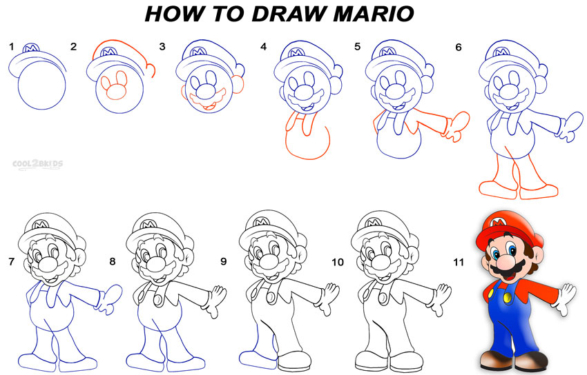 Super Mario Para Dibujar: How To Draw Mario (Step By Step Pictures)