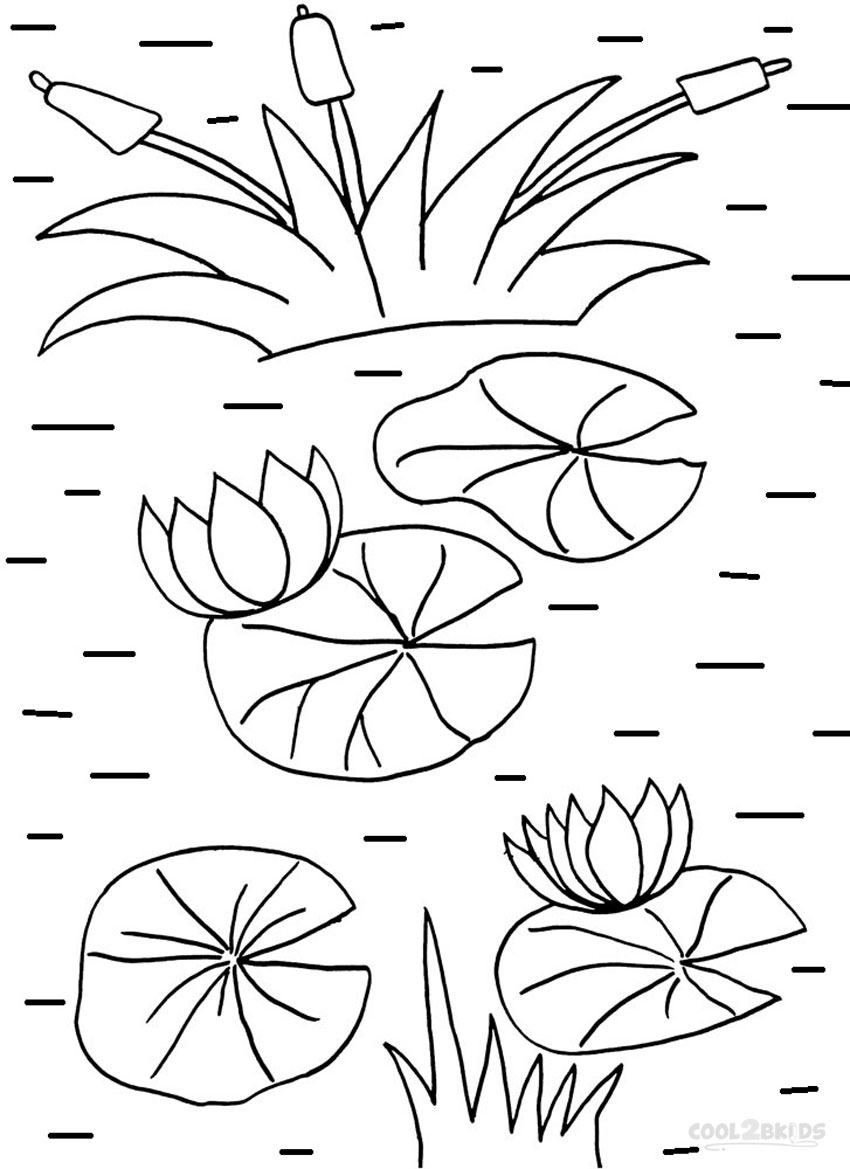 lilypad coloring pages Printable Lily Pad Coloring Pages For Kids | Cool2bKids lilypad coloring pages