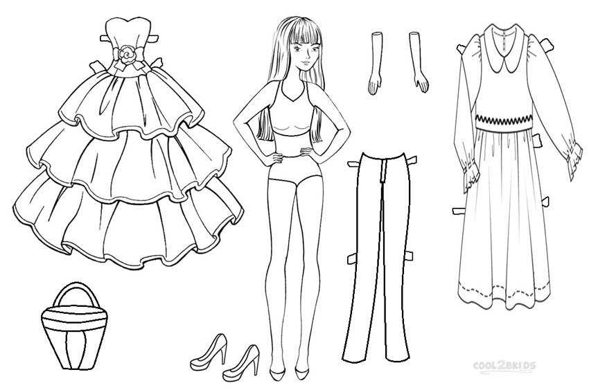 Paper Dolls Coloring Pages