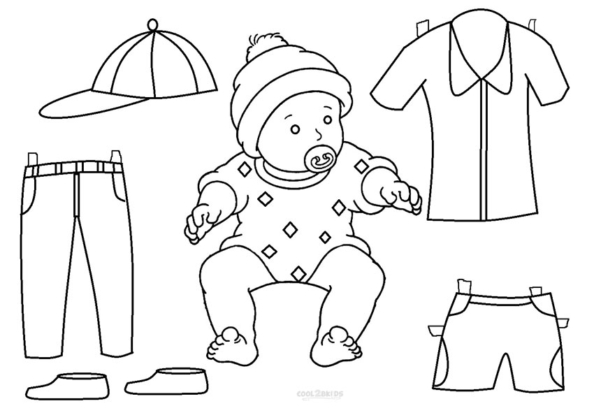 Paper doll coloring pages printable