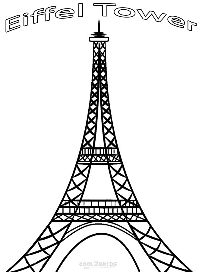image relating to Printable Pictures of the Eiffel Tower referred to as Printable Eiffel Tower Coloring Webpages For Small children Amazing2bKids