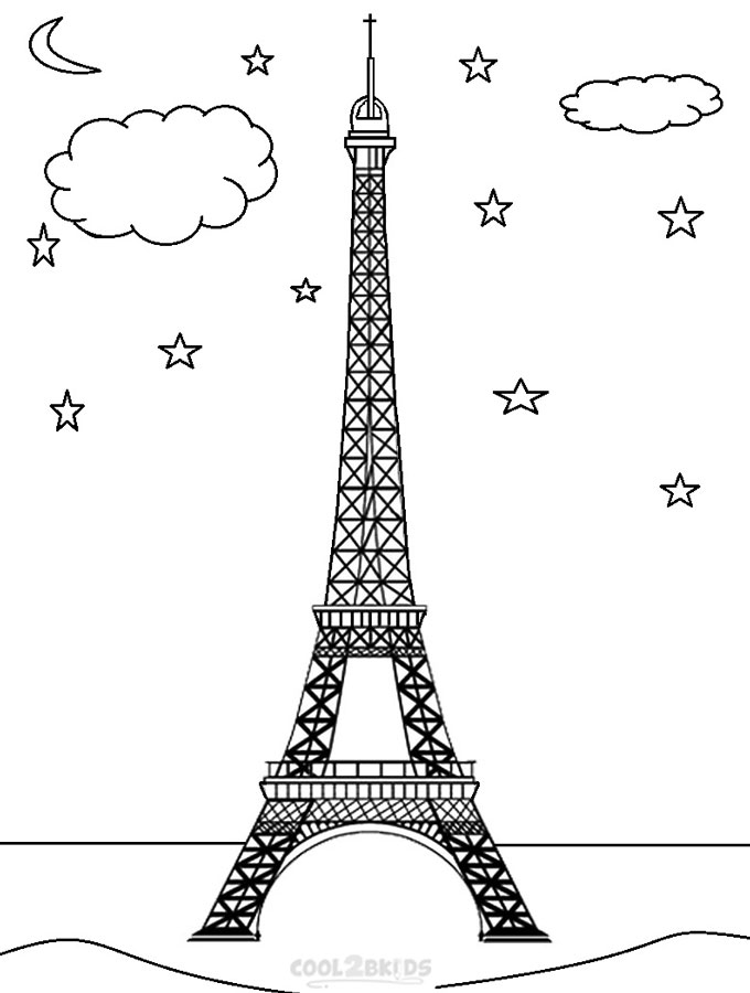 eiffel tower coloring page picture - Paris Eiffel Tower Coloring Pages