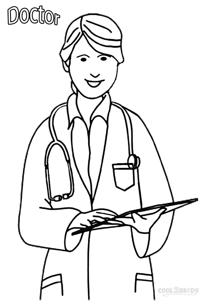 Coloring pages for doctors - Free Printable Community Helper Coloring Pages