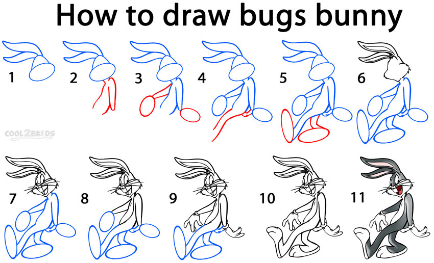 How To Draw Bugs Bunny Step By Step Pictures Cool2bkids