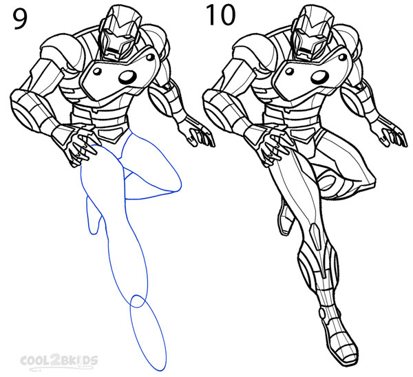how to draw iron man  step by step pictures