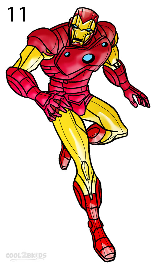how to draw iron man step 6