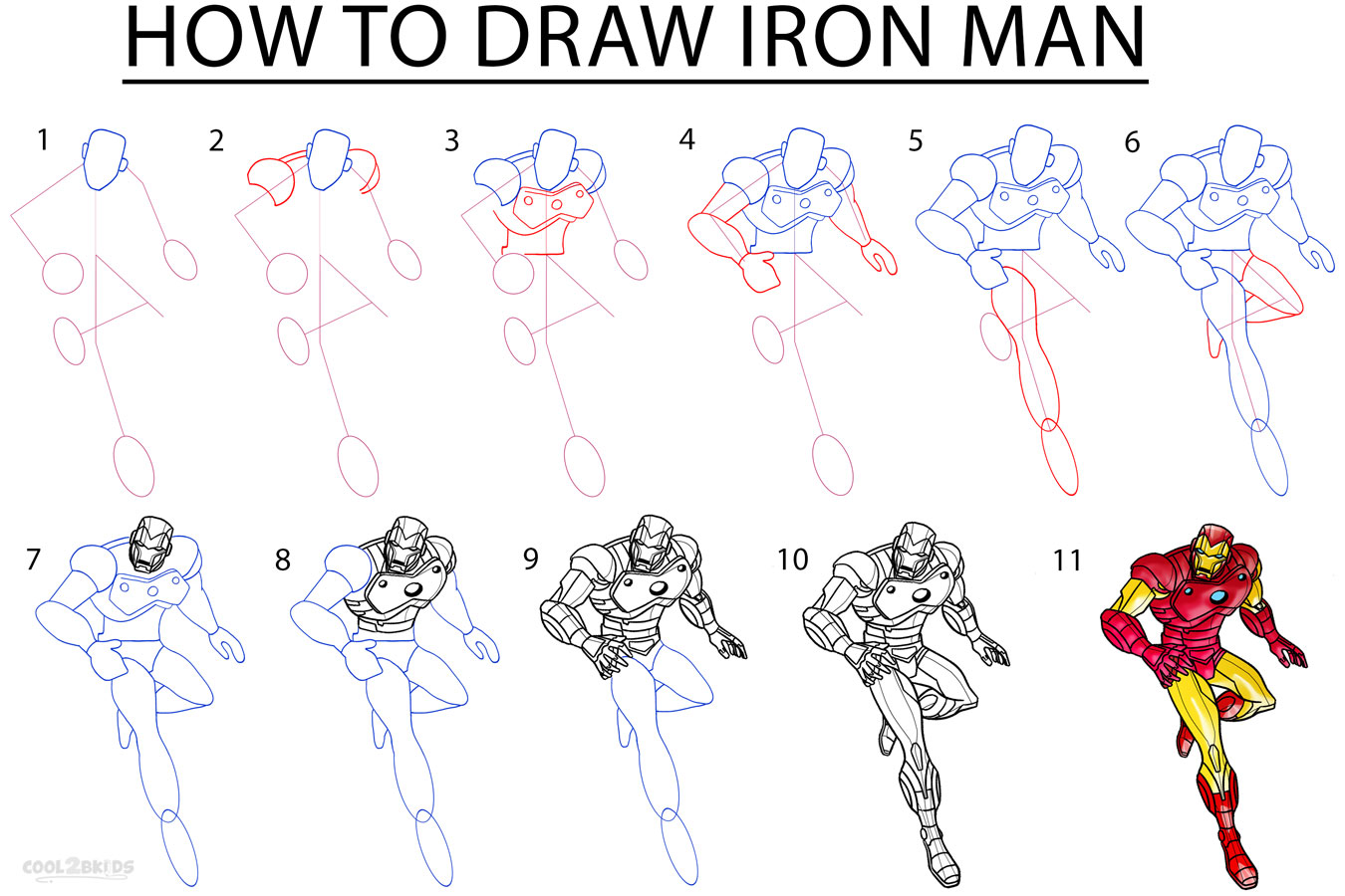 How To Draw Iron Man (Step by Step Pictures) | Cool2bKids