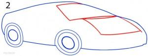 How to Draw a Lamborghini Step 2