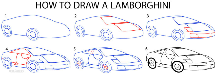 How to Draw a Lamborghini (Step by Step Pictures) | Cool2bKids