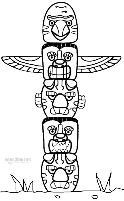 Printable Totem Pole Coloring Pages For Kids Cool2bkids Totem Pole Coloring Pages