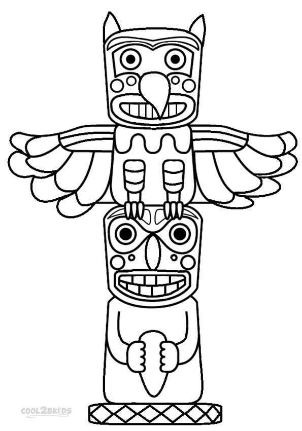 totem pole animal coloring pages - photo#2