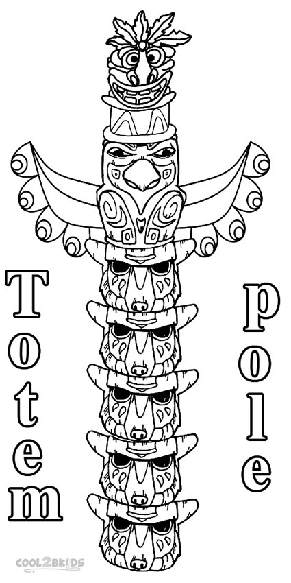 Cat Totem Colouring Pages Totem Pole Coloring Pages