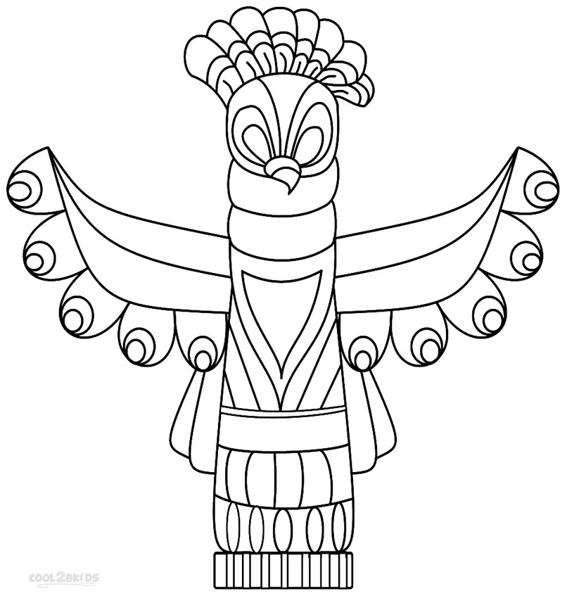 Totem Pole Animals Colouring Pages