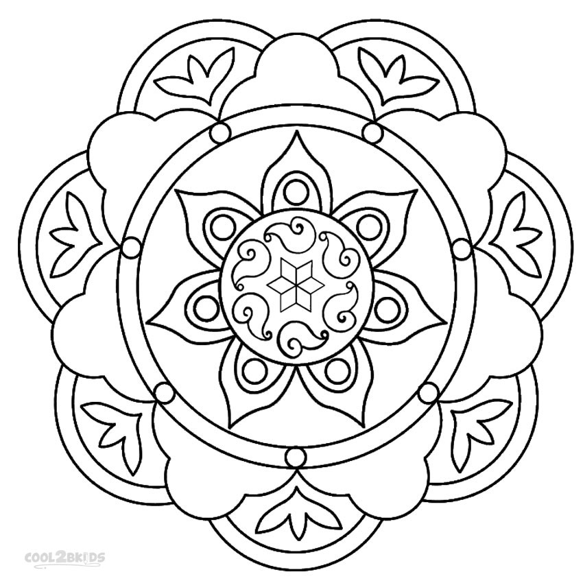 Printable rangoli coloring pages for kids cool2bkids for How to make a coloring book page in photoshop