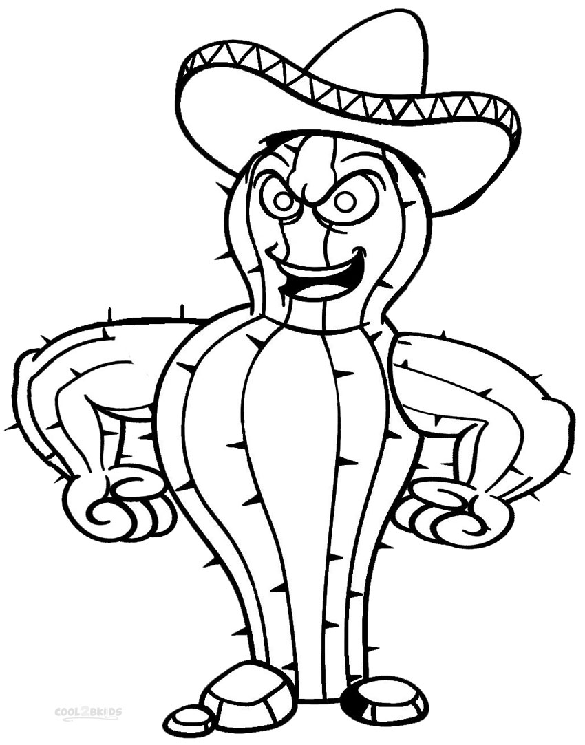 printable cactus coloring pages for kids cool2bkids