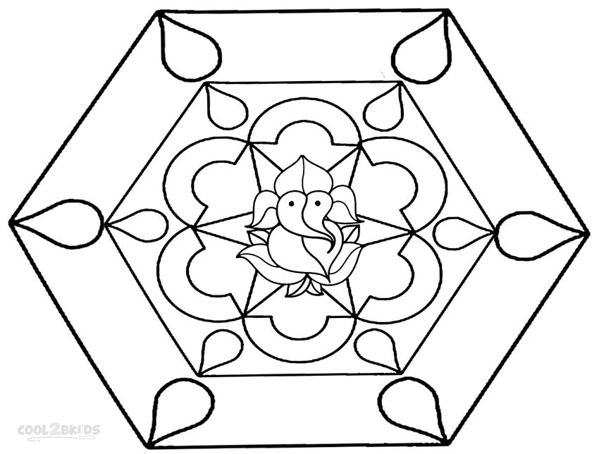 Printable Rangoli Coloring Pages For