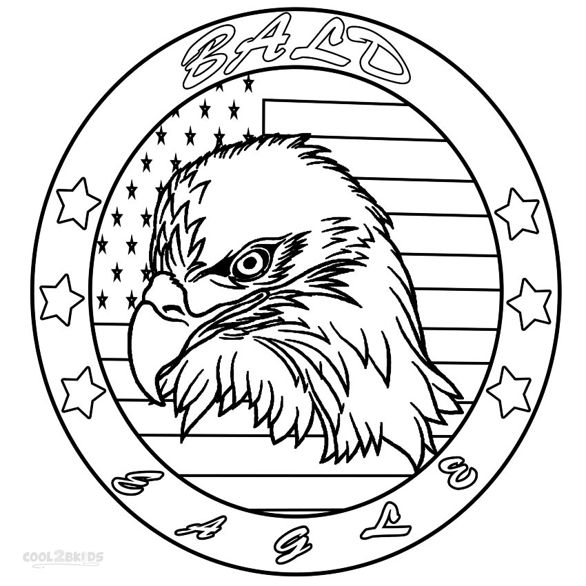 bald eagle head coloring pages - Bald Eagle Coloring Page