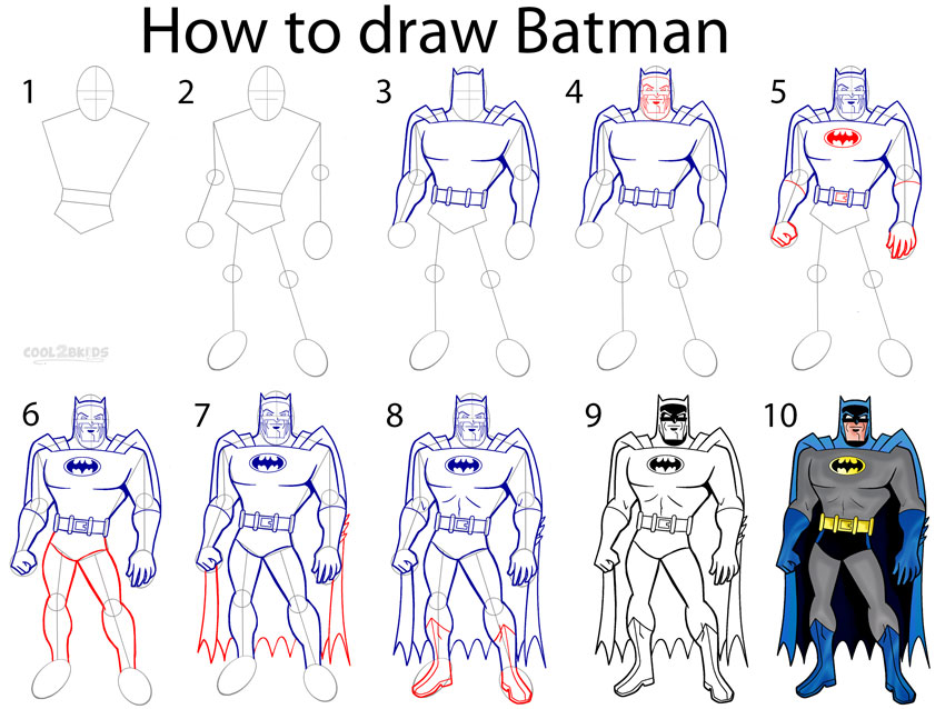 How to draw batman step by step pictures cool2bkids for How to make cartoon drawings step by step
