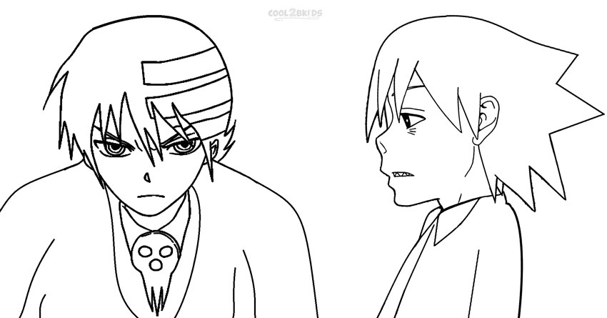 free coloring pages of death the kid and maka